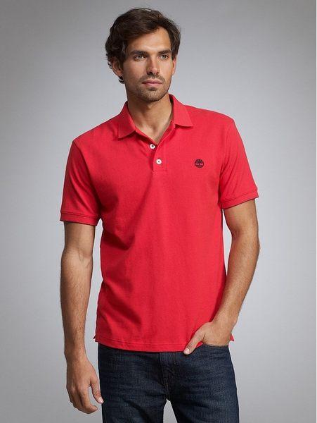 美國百分百【全新真品】Timberland 男款 素面 網眼 上衣 短袖 Polo衫 紅色 S號 板橋門市 自取