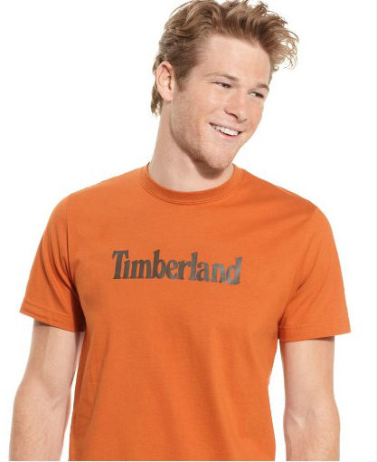 美國百分百【全新真品】Timberland logo款 經典 素面T 文字T 男T恤 短T T-shirt 橘色 S M L號