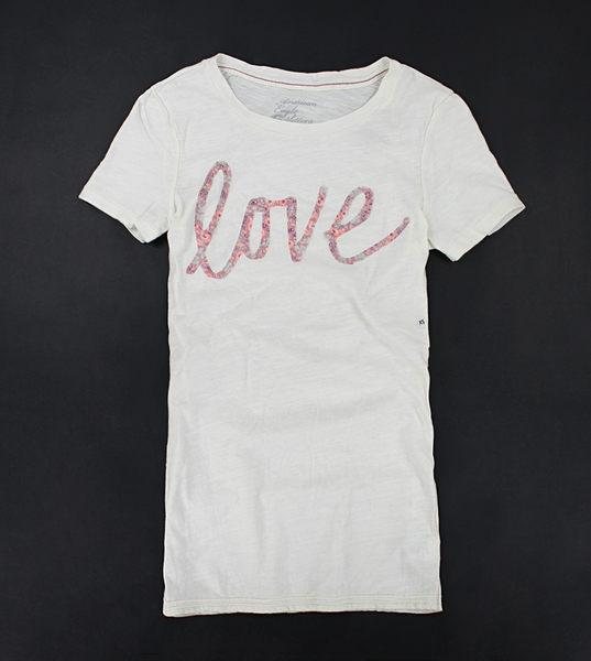 美國百分百【全新真品】American Eagle AE 女款 草寫 LOVE 花紋貼布 短T恤 T-shirt 米色 M號