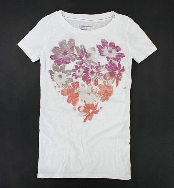 美國百分百【全新真品】American Eagle AE 漸層 刷色 愛心 花朵 圖案T 女T 短T T恤 白色 S號