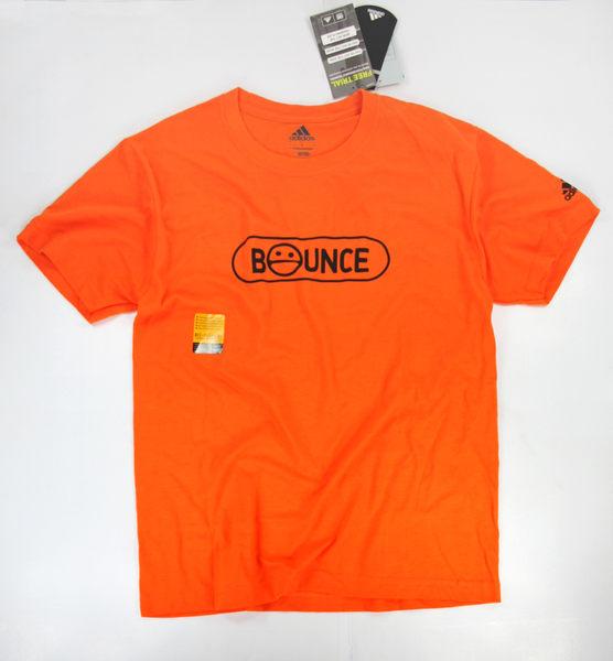 美國百分百【全新真品】Adidas 愛迪達 男生 T恤 T-shirt 短袖 上衣 橘色 超商取貨 M號