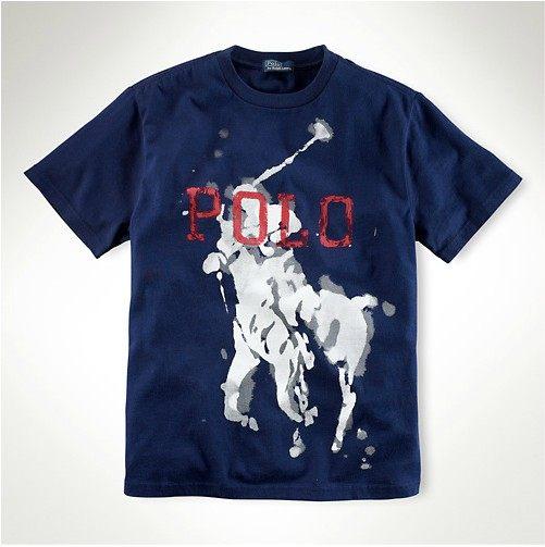 美國百分百【全新真品】Ralph Lauren RL 水染 暈染 特色 大馬 POLO 短袖 T恤 T-shirt 深藍 XS S號y