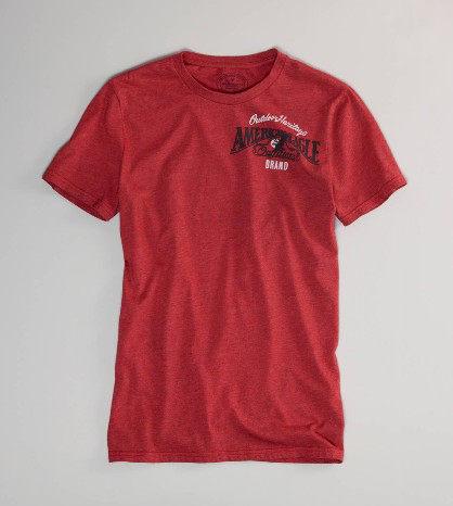 美國百分百【全新真品】American Eagle 正反老鷹文字 復古風 紅色紋路 男 短T恤 T-shirt S號 AE