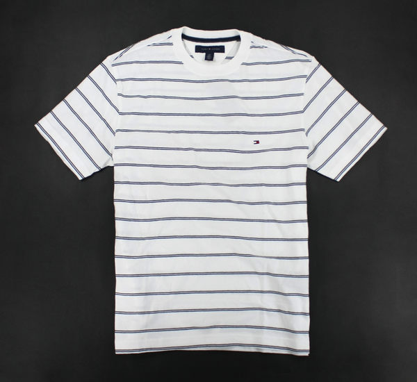 美國百分百【全新真品】Tommy Hilfiger TH 雙條紋 男生 短袖 T恤 T-shirt 休閒 圓領 棉T 白色 XS號