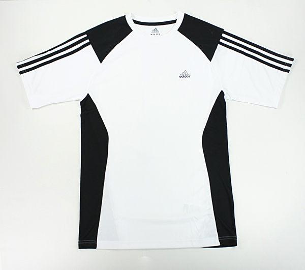 美國百分百【全新真品】Adidas 愛迪達 夏天 打球 專門 運動 T恤 T-shirt 白黑 修身 球T S M號