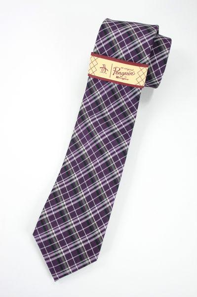 美國百分百【全新真品】Penguin by Munsingwear 企鵝牌 男領帶 交叉格紋 西裝 襯衫 配件 紫色