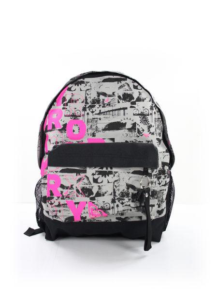 美國百分百【全新真品】ROXY 女生 後背包 學生包 外出包 上課 逛街 灰底 桃紅logo 超取