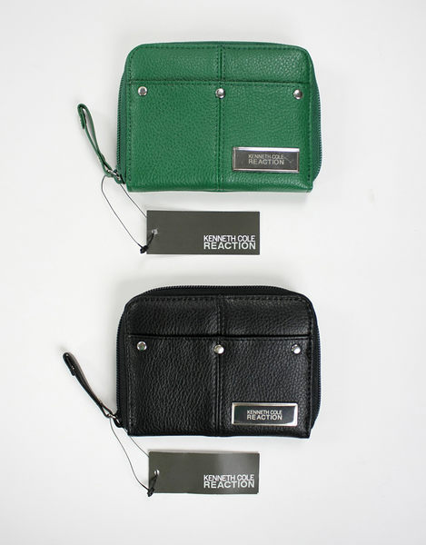 美國百分百【全新真品】Kenneth Cole KC 女生 真皮 短夾 鑰匙包 零錢包 皮夾 黑色 綠色 B435