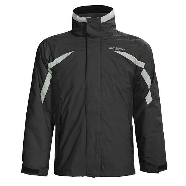美國百分百【全新真品】Columbia 男款 兩件式 保暖 透氣 防水 登山衣 厚外套 黑色 超取
