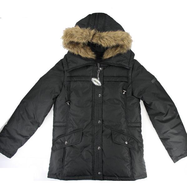 美國百分百【全新真品】DKNY 女版 黑色 羽絨外套 保暖夾克 短大衣 防寒 寒冬款 面交