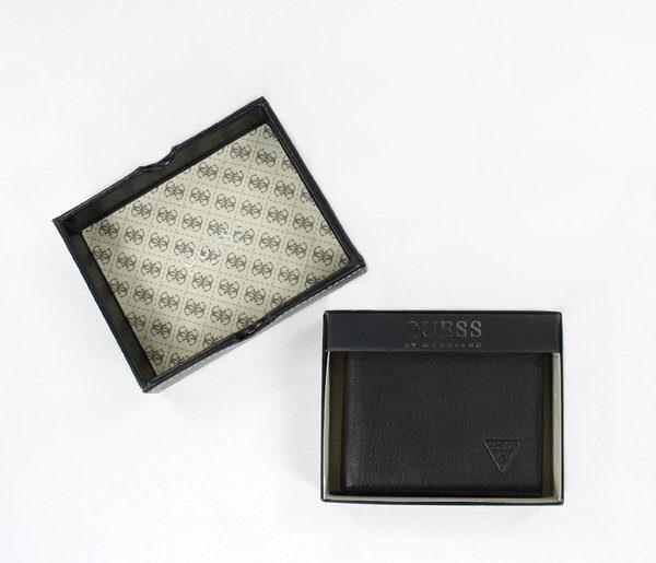 美國百分百【全新真品】Guess 男生 小牛皮 皮夾 錢包 皮包 卡片夾 黑色 超取