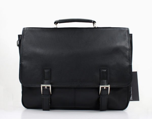 美國百分百【全新真品】kenneth cole KC 經典款 黑色 小牛皮 手提包 側背包 公事包 上班 業務