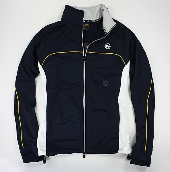 美國百分百【全新真品】NAUTICA 運動外套 立領 翻領 休閒 夾克 雙頭拉鍊 深藍色 黃線條 S號