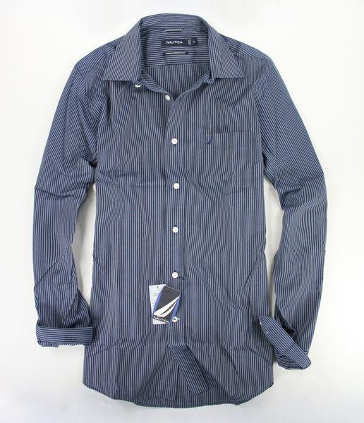 美國百分百【全新真品】NAUTICA 帆船logo 男上衣 深藍 條紋 口袋 長袖襯衫 特別 防皺款 M L號