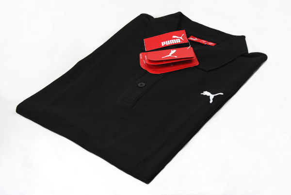 美國百分百【全新真品】PUMA 男生 POLO衫 短袖上衣 黑色 素面純棉 超取