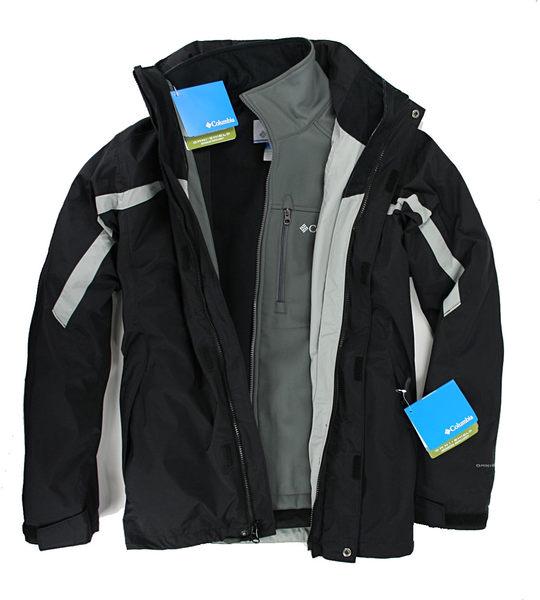 美國百分百【全新真品】Columbia 男 兩件式 超禦寒 透氣 防水 登山衣 厚外套 大衣 夾克 黑 S
