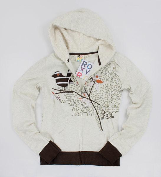 美國百分百【全新真品】Roxy 咖啡 米色 可愛風 鳥喙款 女生 帽T 外套 外衣 純棉 美國寄件