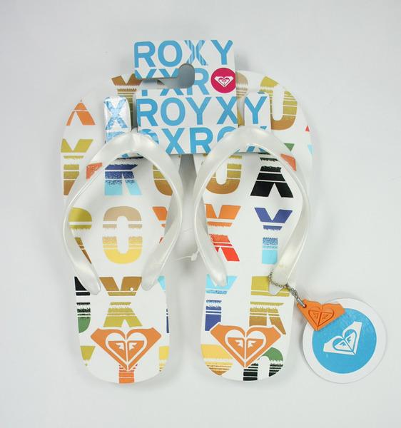 美國百分百【全新真品】ROXY 女生 夾腳拖鞋 人字拖 海灘拖鞋 繽紛款 24號 超取 面交