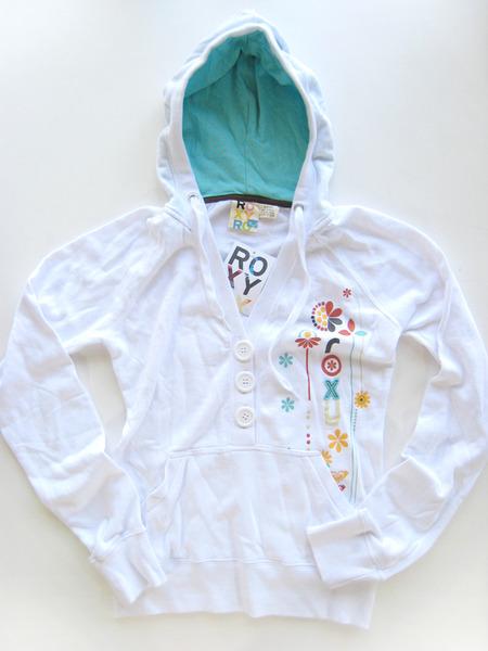 美國百分百【全新真品】ROXY 甜姐兒風 女生 帽T 上衣 外衣 鈕扣式 白色 S號 超取