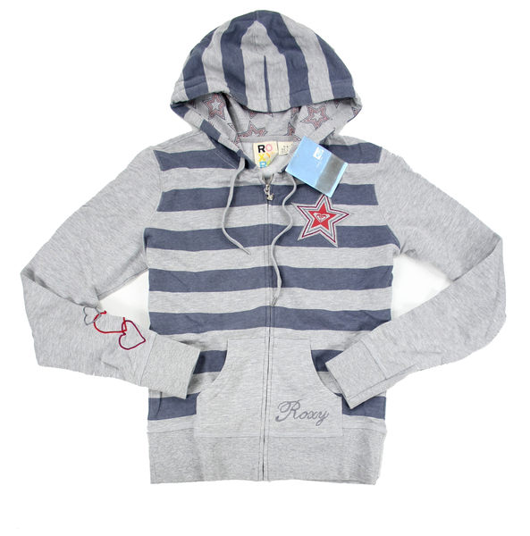 美國百分百【全新真品】ROXY 女 藍灰條紋 愛心 美國 專櫃 星星 春天 棉質 外套 上衣 超取