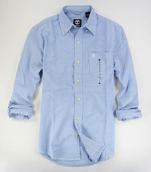 美國百分百【全新真品】Timberland 冬款 純棉 厚版 天空藍 長袖 素面 襯衫 口袋 S M 板橋門市