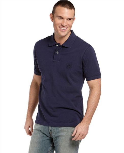 美國百分百【全新真品】Timberland 男生 POLO杉 素面 純棉 上衣 百搭經典款 深藍色 美國寄件