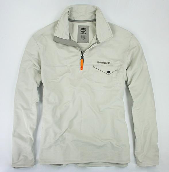 美國百分百【全新真品】Timberland 休閒 運動 半拉 翻領 夾克 透氣 長袖 上衣 長T恤 米色 L