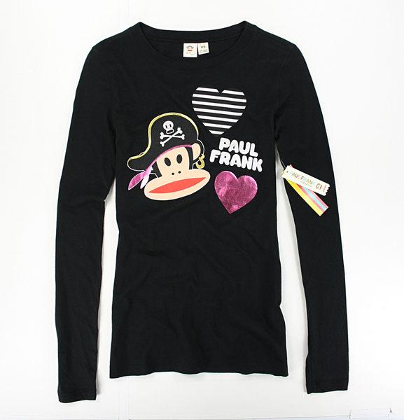 美國百分百【全新真品】Paul Frank 女版 長袖 愛心 海盜 大嘴猴 圖案 T恤 T-shirt 黑色 XS號