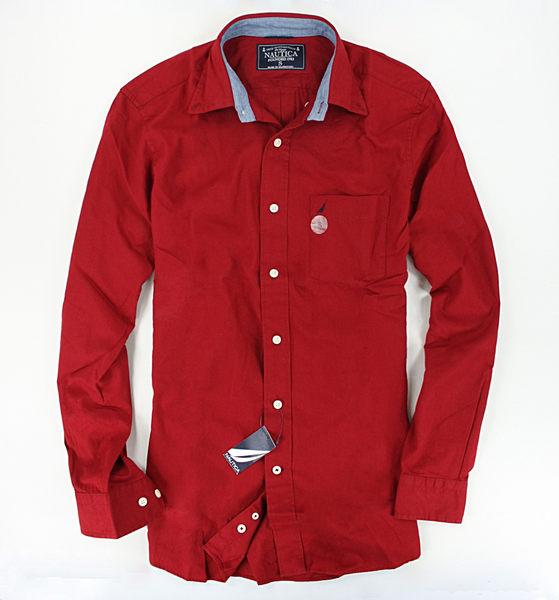 美國百分百【全新真品】Nautica 帆船 口袋 加厚 棉質 長袖 素面 襯衫 上衣 飽和 紅色 男 S號