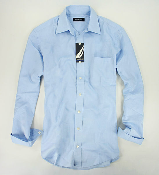 美國百分百【全新真品】Nautica 帆船牌 男 上班 工作 素面 口袋 長袖 襯衫 淺藍色 M號
