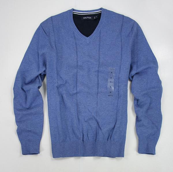 美國百分百【全新真品】NAUTICA 帆船牌 藍 V領 素面 針織衫 棉質 長袖 上衣 外衣 S號