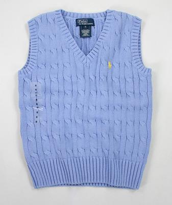 美國百分百【全新真品】Ralph Lauren RL polo 童裝 氣質小男孩 毛衣 背心 厚綿 粉藍 可愛小黃馬