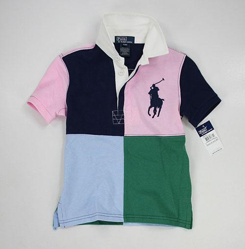 美國百分百【全新真品】Ralph Lauren Polo衫 RL 童衣 男 童裝 小孩 大馬 拼色 短袖 上衣 6歲 A020