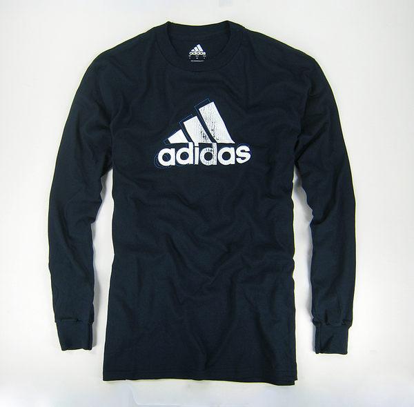 美國百分百【全新真品】Adidas 愛迪達 男 長袖 刷色logo 圓領 T恤 T-shirt 上衣 深藍 S號 可自取