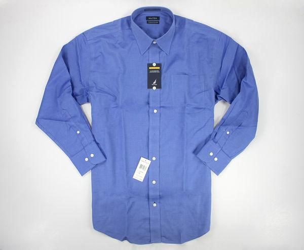 美國百分百【全新真品】Nautica 男 素面 免熨 藍色 上班 工作 長袖 襯衫 L號 大尺碼 面交