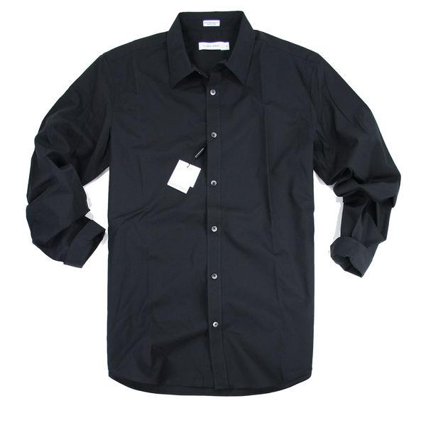美國百分百【全新真品】Calvin Klein 男生 工作襯衫 黑色 大尺碼 XL號 純棉 美國專櫃 免運