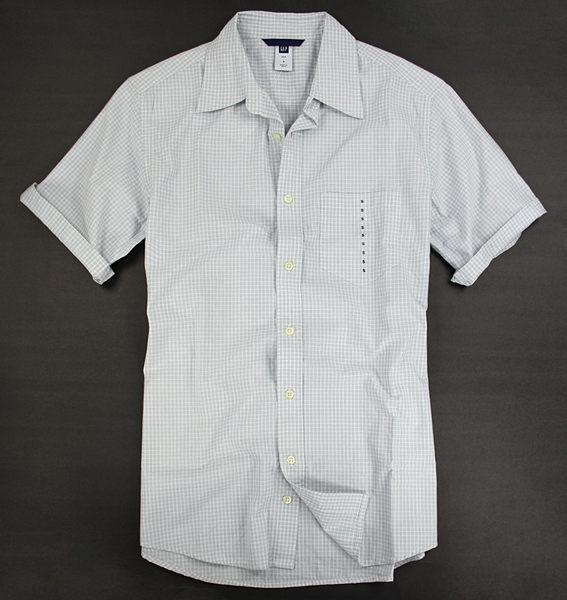 美國百分百【全新真品】Gap 男生 格紋 短袖 襯衫 100% 純棉 工作 上班 上衣 S號 特價
