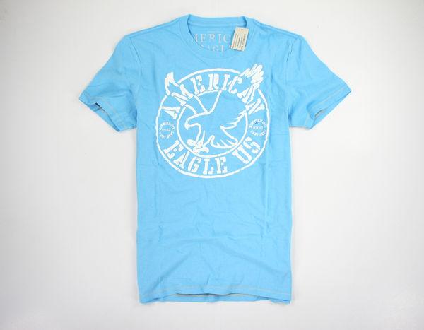 美國百分百【全新真品】American Eagle US AE AEO 男款 天空藍 老鷹 logo 短袖 T恤 XS S 美國寄件