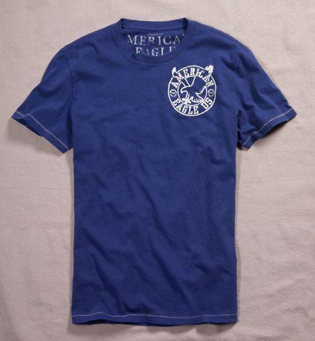 美國百分百【全新真品】American Eagle AE AEO 正反 老鷹 logo 短袖 T恤 深藍 純棉 XS S 美國空運