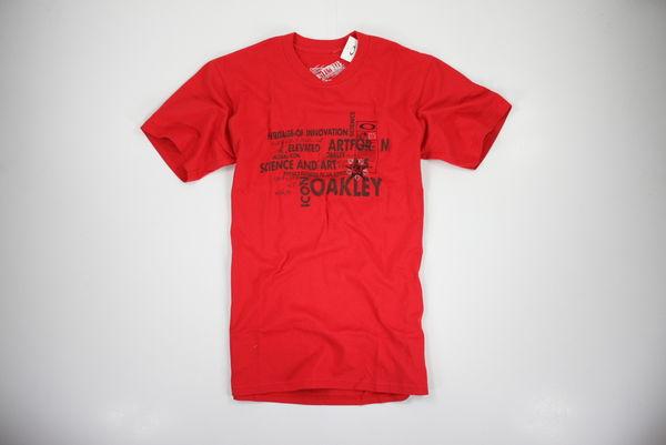 美國百分百【全新真品】oakley 街頭潮T 衝浪名牌 紅色 男 T恤 文字T 星星勳章 art T-shirt
