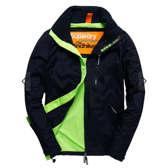 美國百分百【全新真品】Superdry 極度乾燥 風衣 立領 外套 防風 夾克 帽T 網眼 深藍 綠 XL號 E701