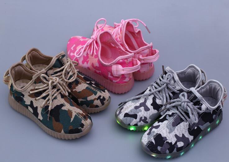 韓系迷彩LED椰子鞋兒童運動休閒燈鞋