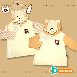 [ Baby House ] ◤純棉-台灣製◢ 可愛條紋動物嬰兒帽T上衣【愛兒房生活館】