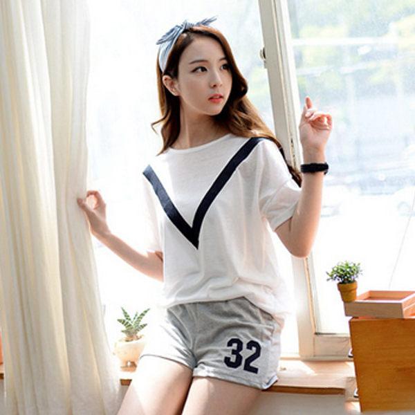 PS Mall 韓版數字圖案短袖圓領上衣 休閒短褲 兩件式運動套裝【T244】