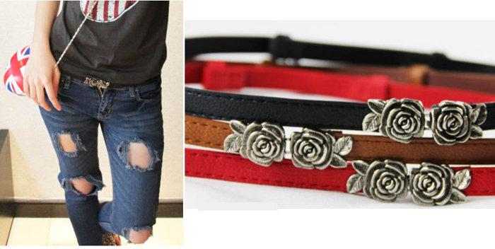 ★草魚妹★H443細腰帶復古可調節細緻立體玫瑰花對扣細腰帶皮帶,售價128元