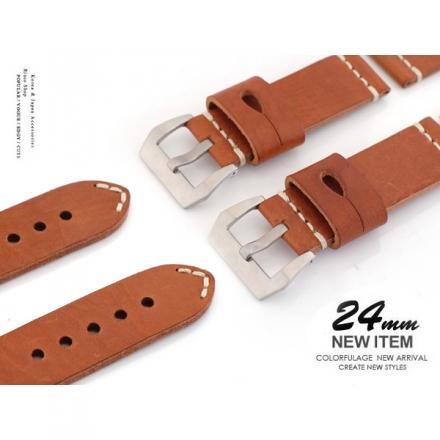 【完全計時】手錶館│Panerai沛納海代用 手工粗線高級牛皮5mm加厚 大錶扣直身錶帶 24mm