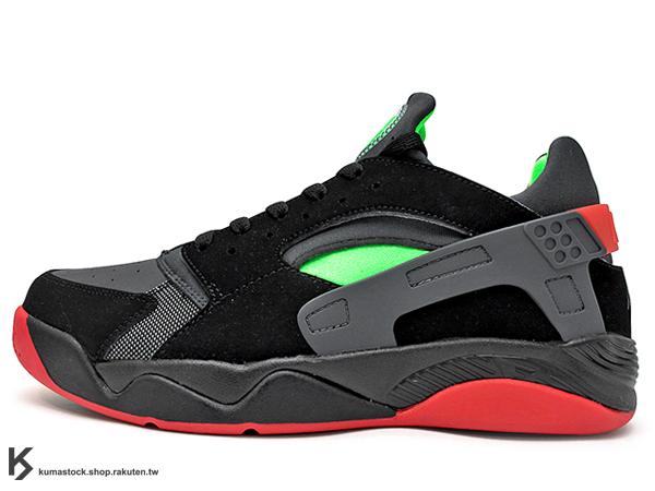 2016 復刻上市 改良進化 NIKE AIR FLIGHT HUARACHE LOW 低筒 黑綠紅 籃球鞋 1993 經典籃球鞋款 (819847-001) !