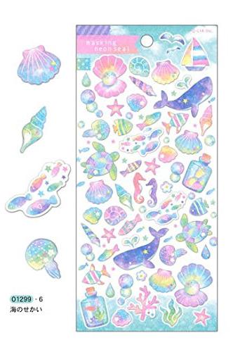 *小徑文化*日本進口 Q-Lia masking neon seal 螢光和紙貼紙 - 海洋 ( 01299 )