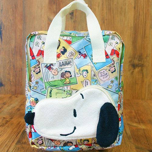 【真愛日本】15120500015 帆布後背包-SN拼貼立體大頭綠 史奴比 史努比 SNOOPY 兒童背包 書包 背包