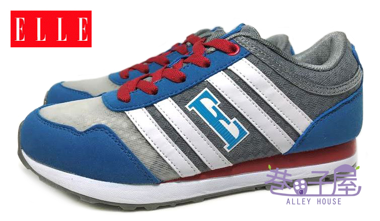 【巷子屋】ELLE 女款法式經典復古潮流運動慢跑鞋 記憶鞋墊 [60058] 灰藍 超值價$498